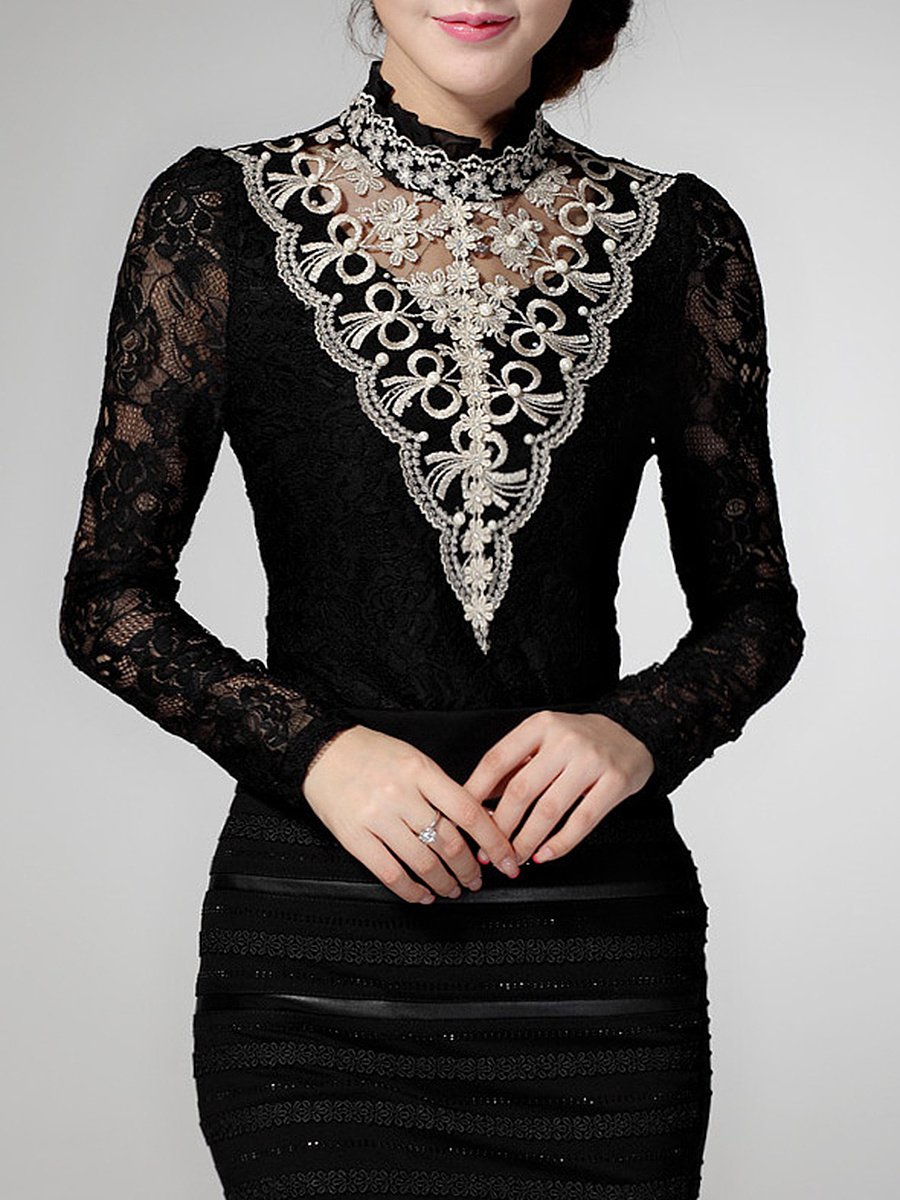 Band Collar  Beading  Hollow Out Long Sleeve T-Shirt