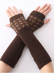 Geometric Color Block Knit Fingerless Gloves