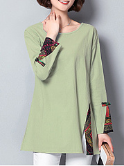 Round Neck  Patchwork Side Vented  Abstract Print Long Sleeve T-Shirts