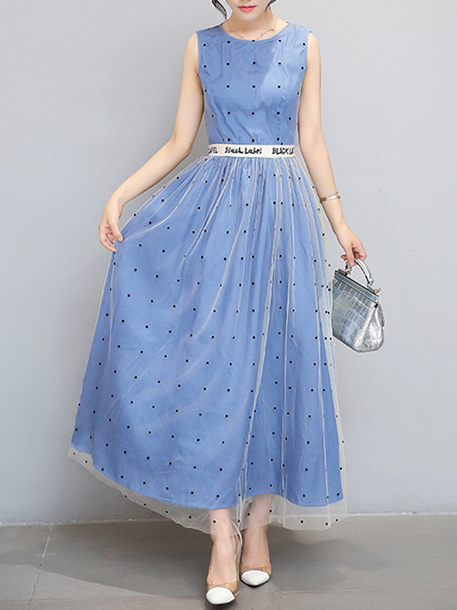 Polka Dot Round Neck Letters Maxi Dress