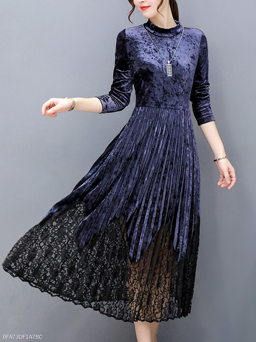 High Neck Date Decorative Lace  Plain Maxi Dress