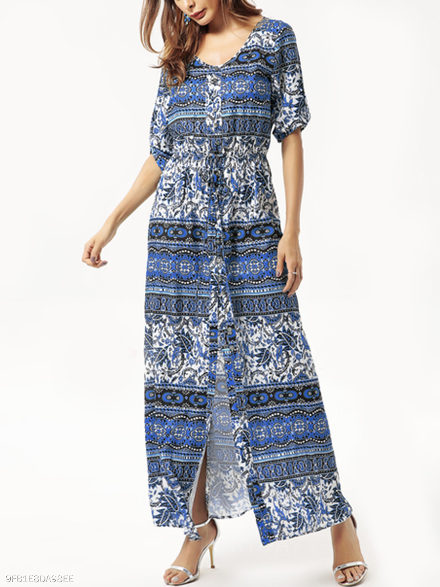 V-Neck  Drawstring High Slit  Printed Maxi Dress