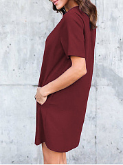 Round Neck  Plain Shift Dresses