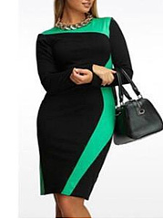 Round Neck  Geometric Plus Size Bodycon Dresses