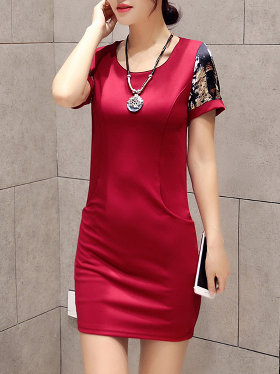 Round Neck Pocket Printed Mini Bodycon Dress
