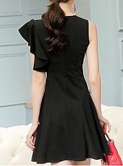 Round Neck  Flounce  Plain Skater Dress