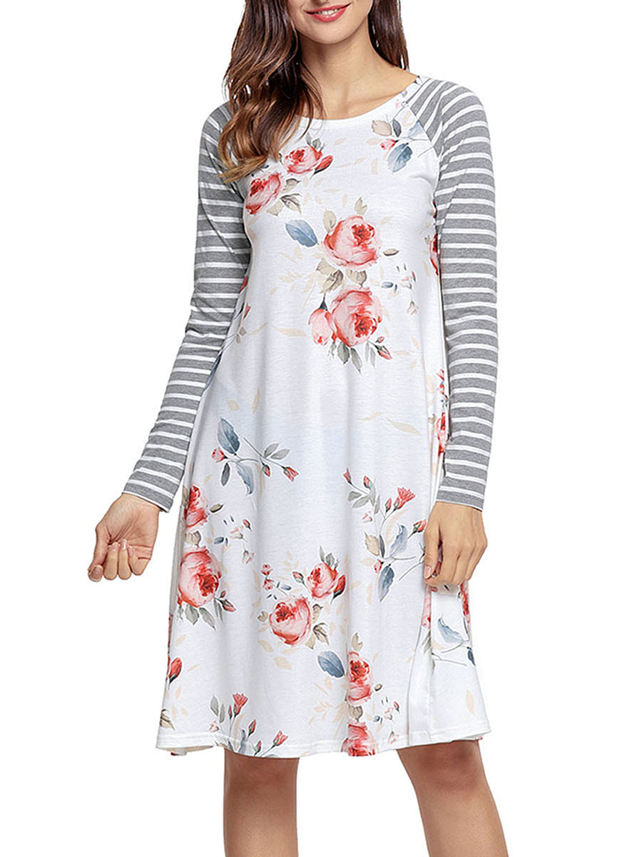 Round Neck Floral Striped Raglan Sleeve Shift Dress
