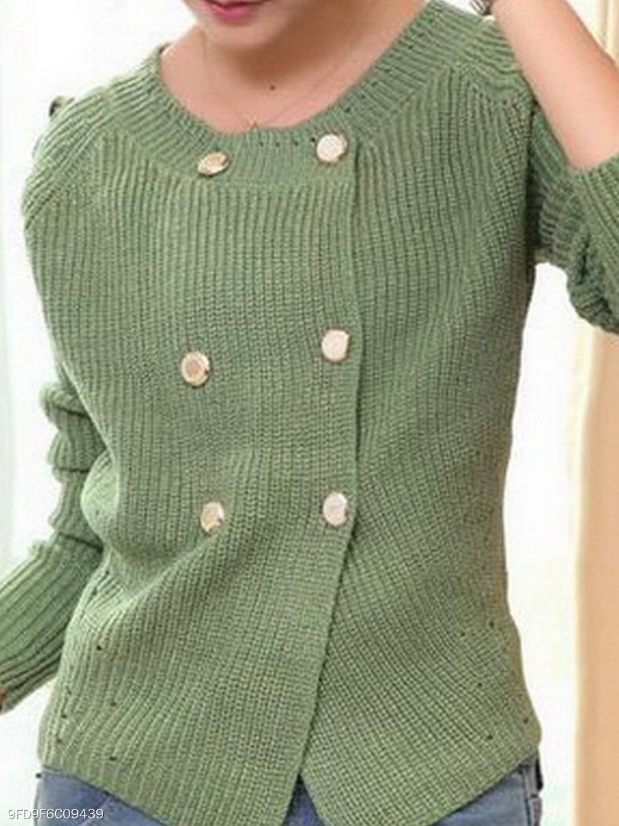 Round Neck  Double Breasted  Plain Knit Cardigans