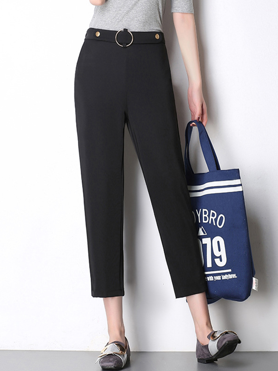 Black Casual Pocket Slim-Leg Cropped Pants