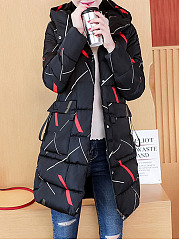 Hooded  Zips  Abstract Print  Long Sleeve Coats