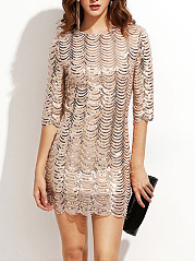 Sparkling Sequin Scalloped Hem Plain Bodycon Dress