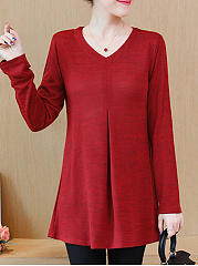 Round Neck  Plain Long Sleeve T-Shirts
