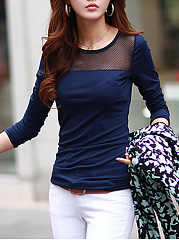 Round Neck See-Through Plain Long Sleeve T-Shirt