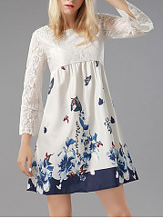 Round Neck Date Lace Printed Shift Dress
