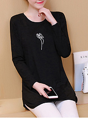 Autumn Spring  Cotton  Women  Round Neck  Embroidery Plain Long Sleeve T-Shirts