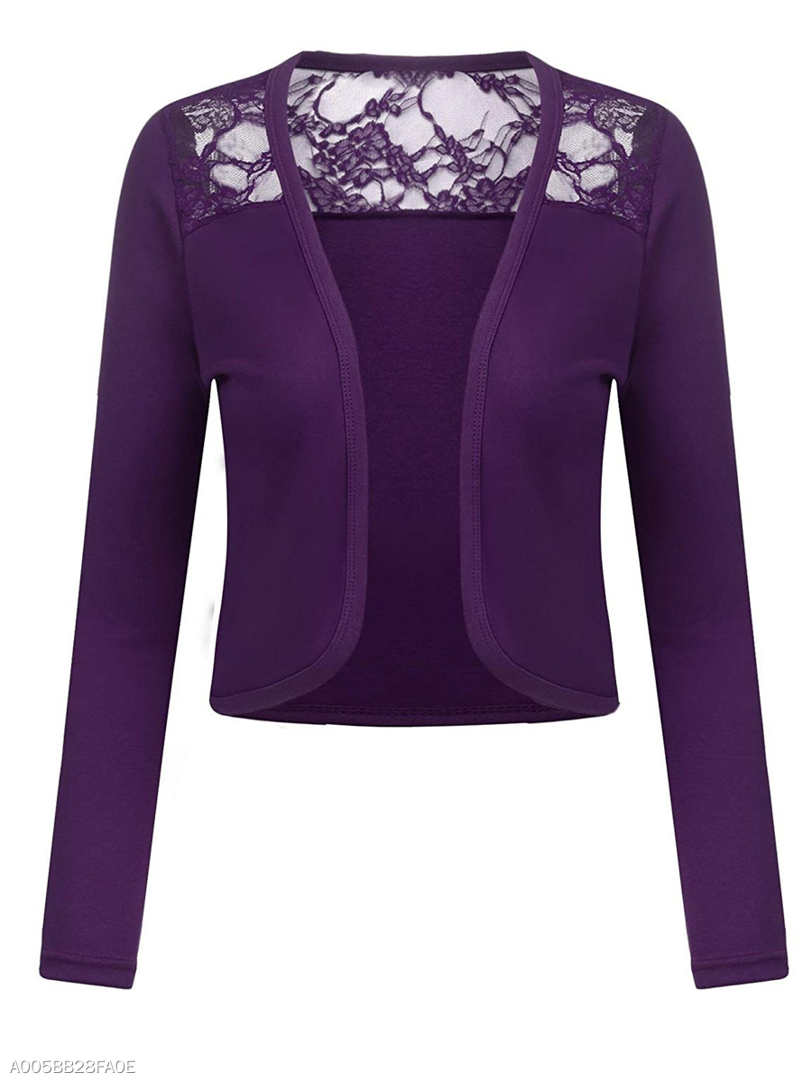 Decorative Lace See-Through  Plain  Long Sleeve Cardigans