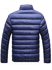 High Neck Pocket Quilted Plain Men Padded Coat