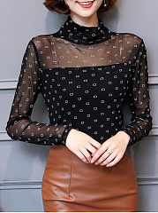 Autumn Spring  Mesh Polyester  Women  High Neck  Beading See-Through  Geometric Long Sleeve T-Shirts