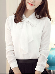 Autumn Spring  Chiffon  Women  Tie Collar  Decorative Button  Plain  Long Sleeve Blouses