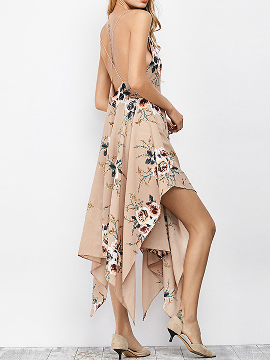 Spaghetti Strap  Printed Maxi Dress