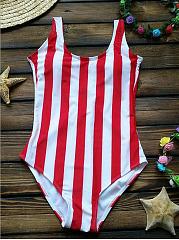 RedWhite-Stripe-Siamese-Swimsuit