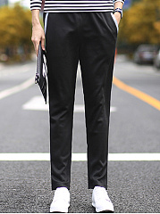 Contrast Trim Pocket Straight Men's Casual Pants