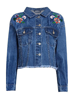 Veste Denim Flap Pocket Single Breasted Embroidery