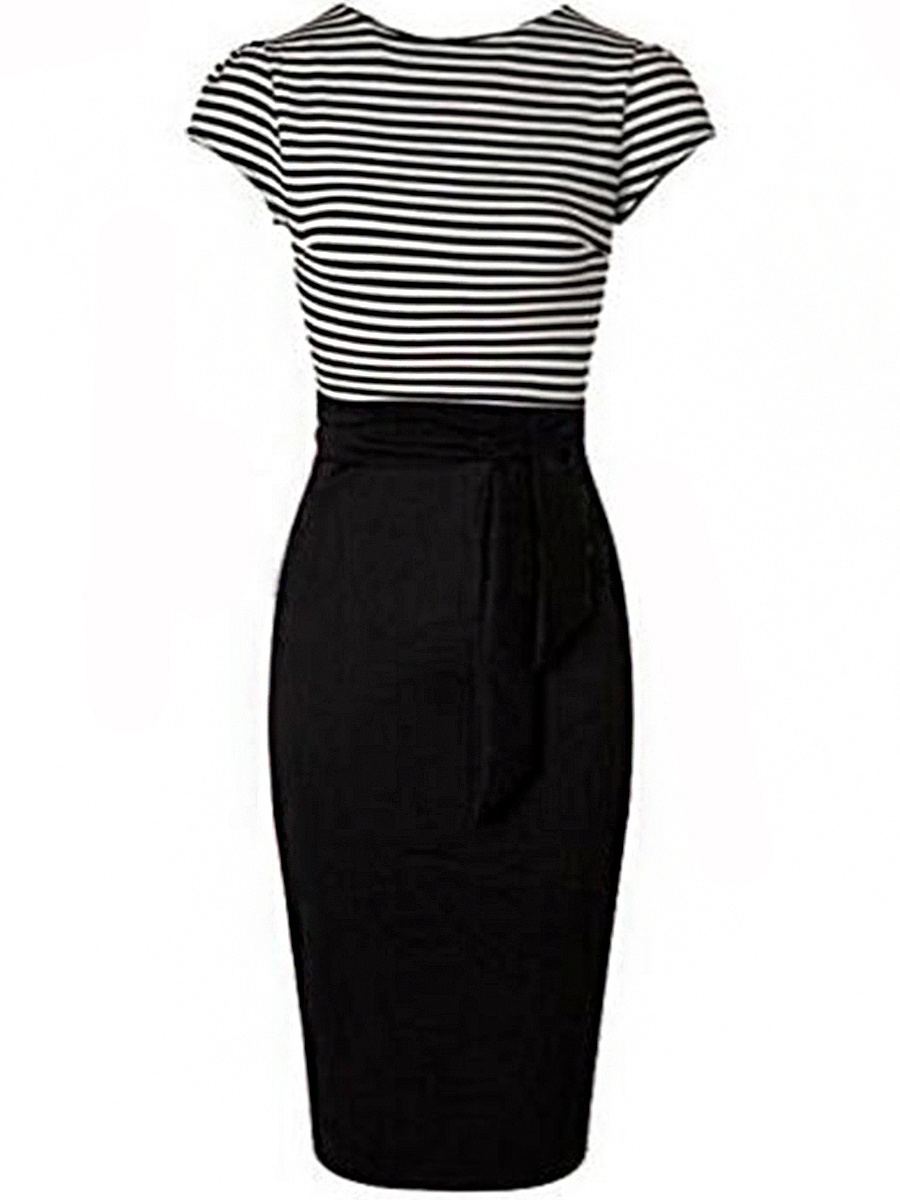 Elegant Striped Round Neck Short Sleeve Bodycon Dress