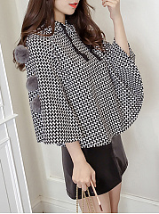 Hooded  Checkered  Cape Sleeve Cape