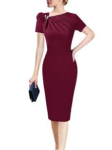 b6c9a2862e Asymmetric Neck Decorative Hardware Plain Bodycon Dress
