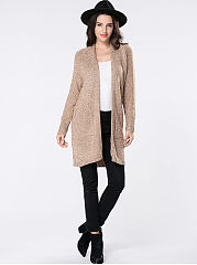 Collarless Loneline Patch Pocket Plain Cardigan