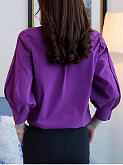 Turn Down Collar Plain  Puff Sleeve Blouse