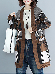 Contrast Piping  Color Block  Long Sleeve Cardigans