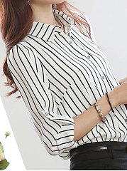 Spring  Chiffon  Women  Turn Down Collar  Single Breasted  Striped  Long Sleeve Blouses