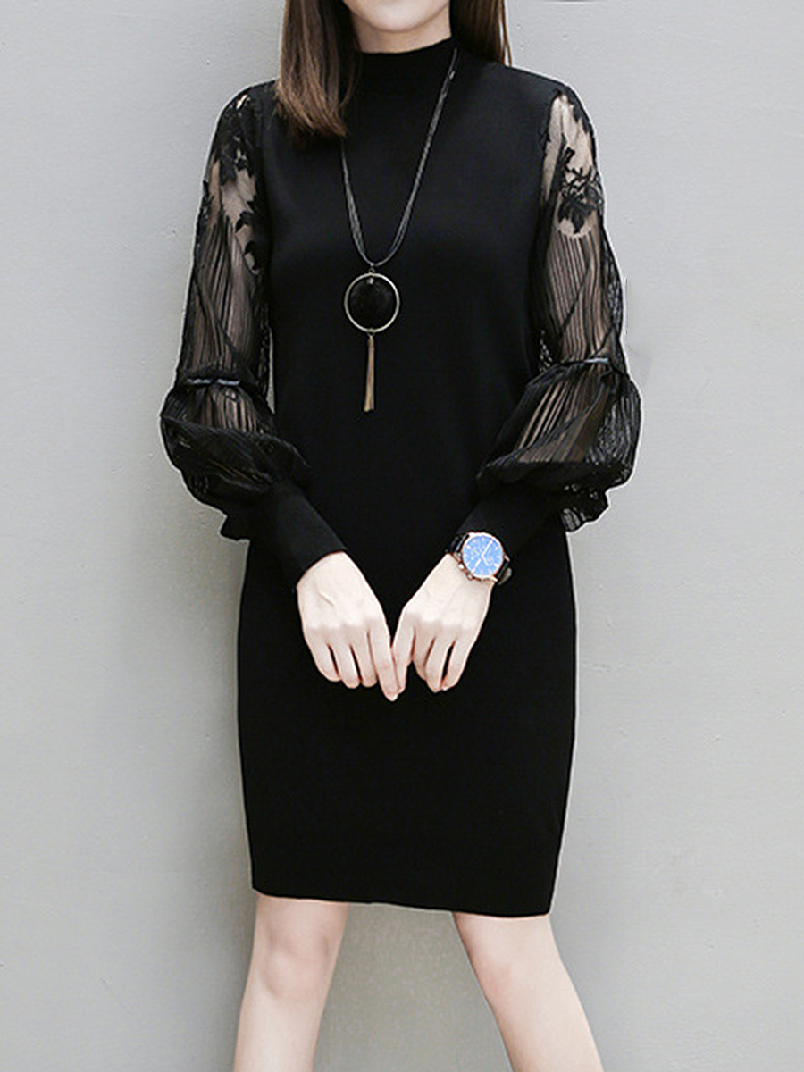 Band Collar See-Through Plain Shift Dress