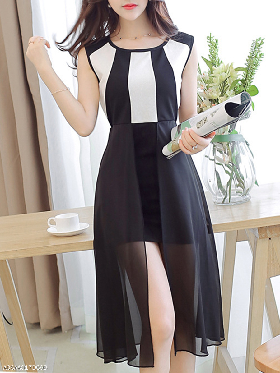 Round Neck  High Slit Patchwork See-Through  Color Block Skater Dress