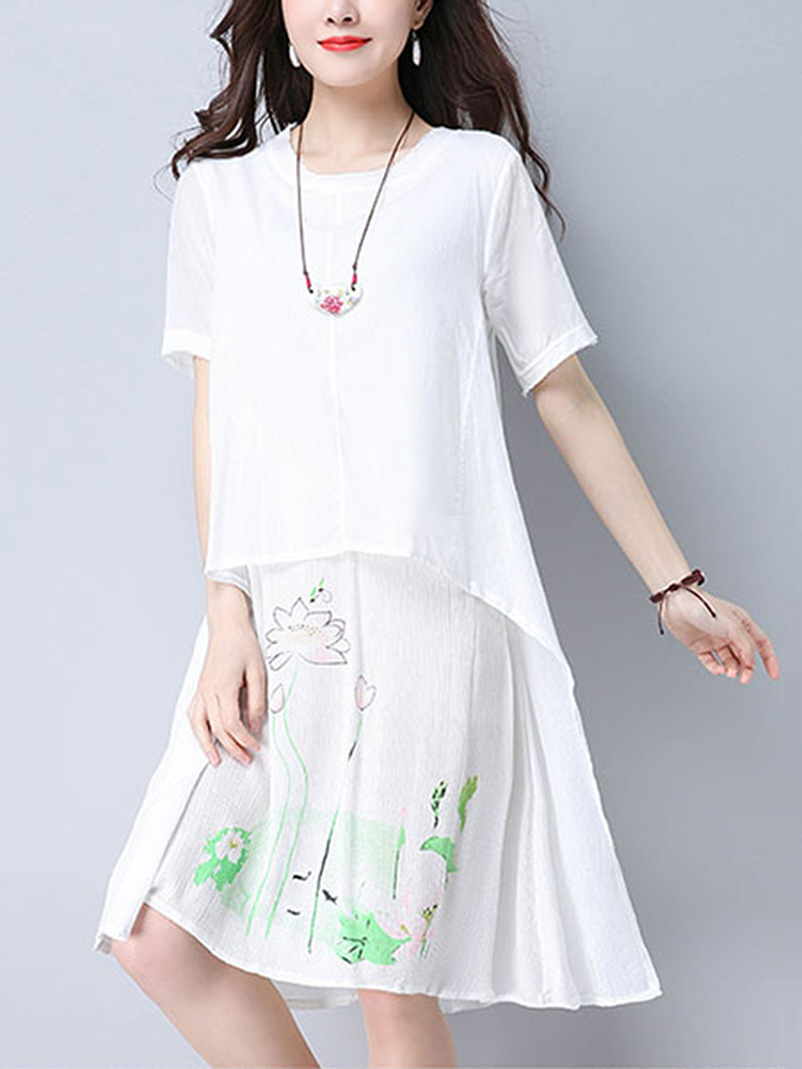 Round Neck Short Sleeve Printed Shift Dress