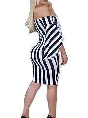 Open Shoulder  High Stretch  Vertical Striped Bodycon Dress