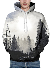 Kangaroo Pocket Tree Printed Men Hoodie