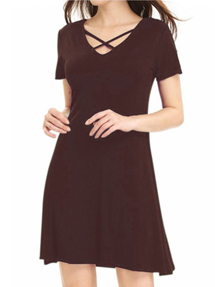 Round Neck  Plain Shift Dress