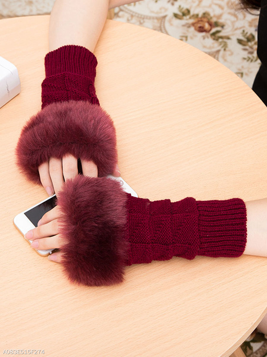 Autumn Elegant Knitted Half Finger Gloves