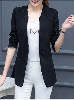 Collarless  Slit Pocket  Plain Blazer