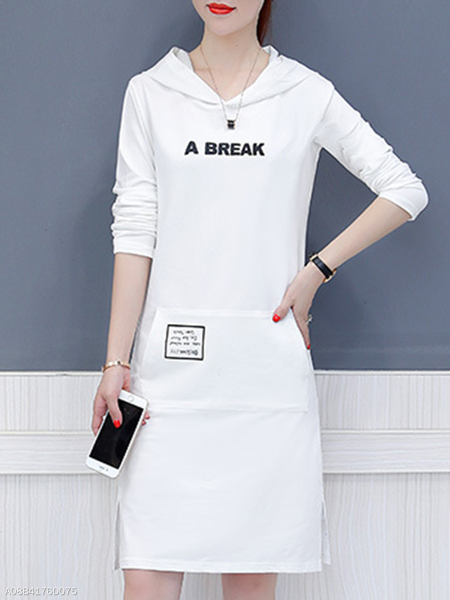 Hooded  Letters Shift Dress