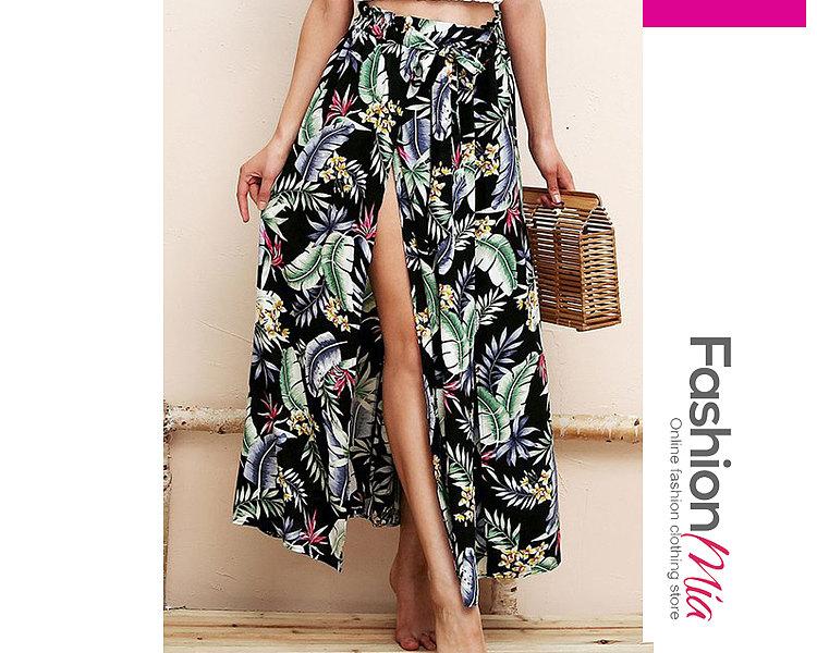 Black Printed Knee-Length Skirts For Women