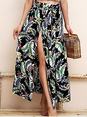 Black Printed Knee-Length Skirts For Women