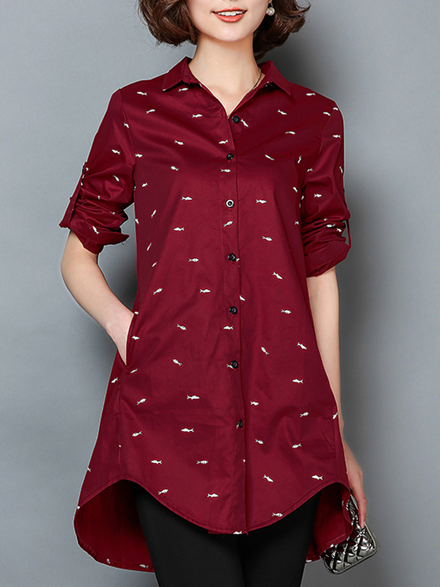 Longline Pocket Tiny Fish Printed Roll-Up Sleeve Blouse