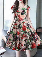 Sweet Heart  Floral Printed Skater Dress