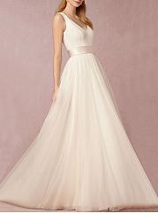 Exquisite-Deep-V-Neck-Plain-Evening-Dress
