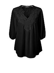 V-Neck-Brief-Decorative-Lace-Plain-Plus-Size-Blouse
