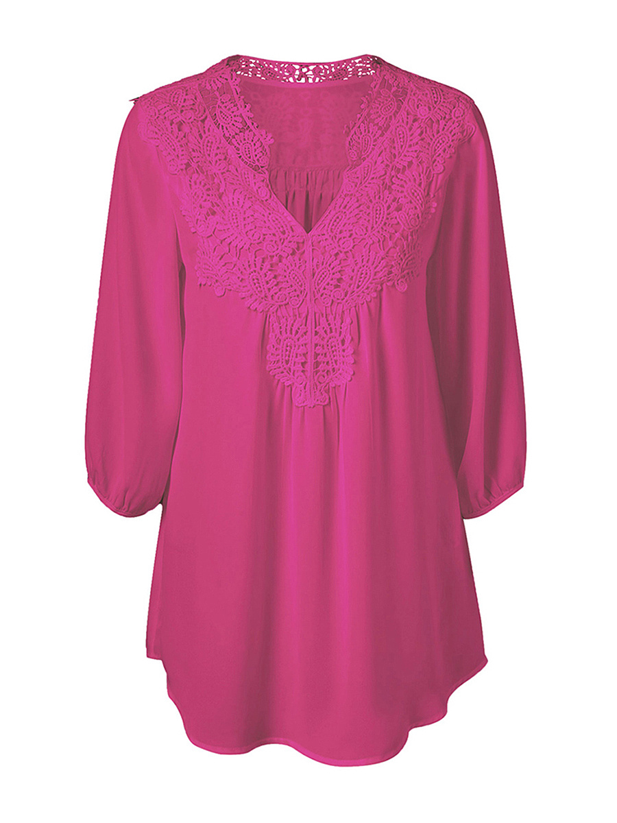 V-Neck Brief Decorative Lace  Plain Plus Size Blouse